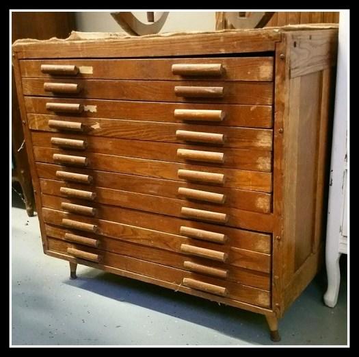 Antique Printers Cabinet Oak