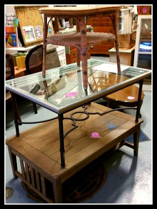 Coffee table sale metal glass wood wicker Shizzle Design