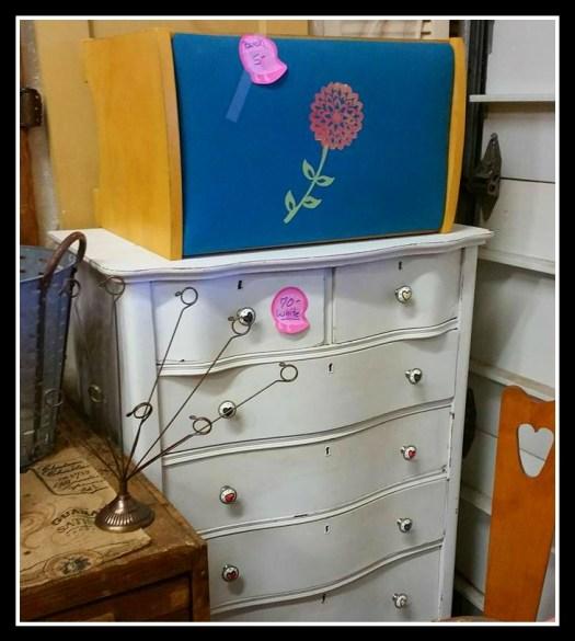 Curvy antique highboy dresser white wood