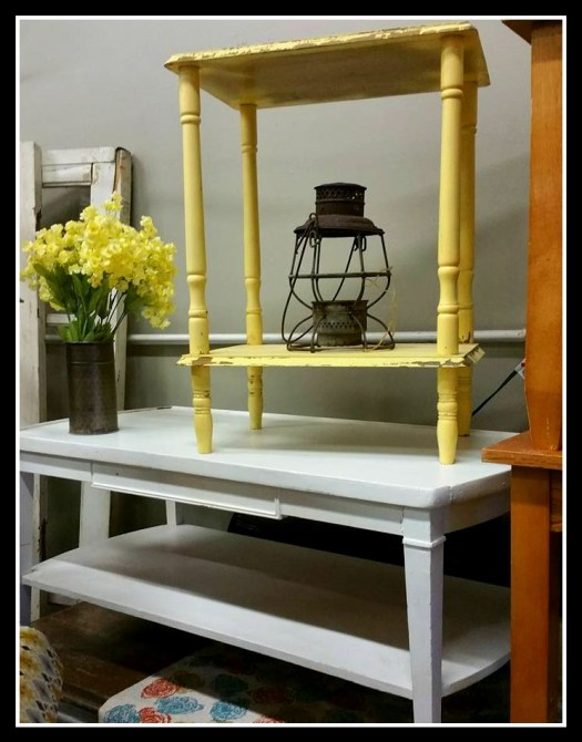 Mid Century Modern Coffee Table White Wood Yellow End Table