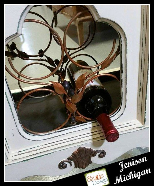 Vintage Stereo Cabinet repurposed into Wine Rack Shizzle Design Painted Furniture chalk clay paint Grand Rapids Michigan 2