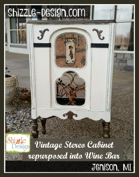 Vintage Stereo Cabinet repurposed into Wine rack Bar Shizzle Design Painted Furniture chalk clay paint Grand Rapids Michigan