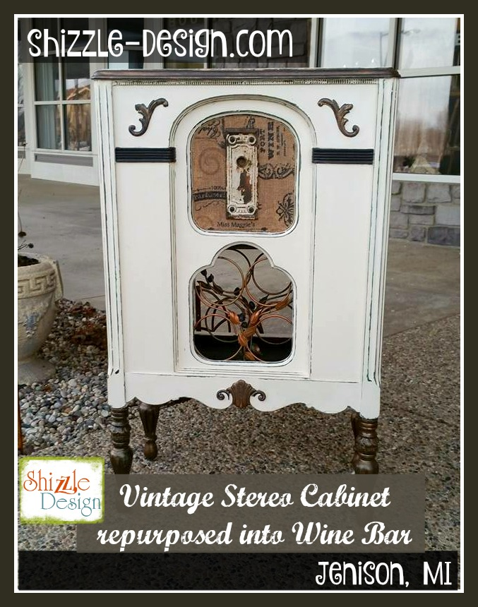 Vintage Stereo Cabinet Repurposed Into Wine Rack Bar Shizzle Design Painted  Furniture Chalk Clay Paint Grand