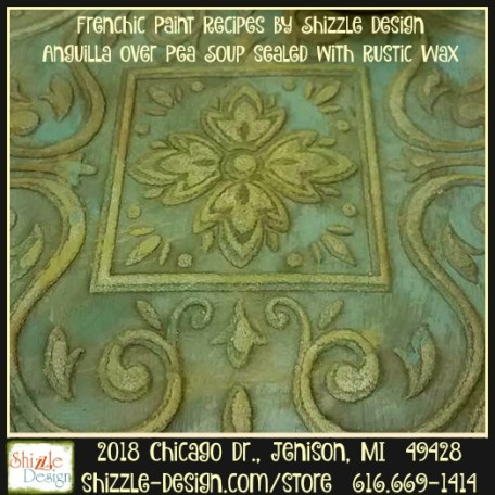 Frenchic Furniture Paint - Anguilla - medium teal chalk paint, pea soup olive green rustic dark wax paint recipes easy to use Shizzle Design Distributor for the U.S. Jenison Michigan