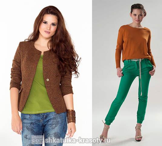 Połączenie kolorów w ubraniach brązowy i zielony