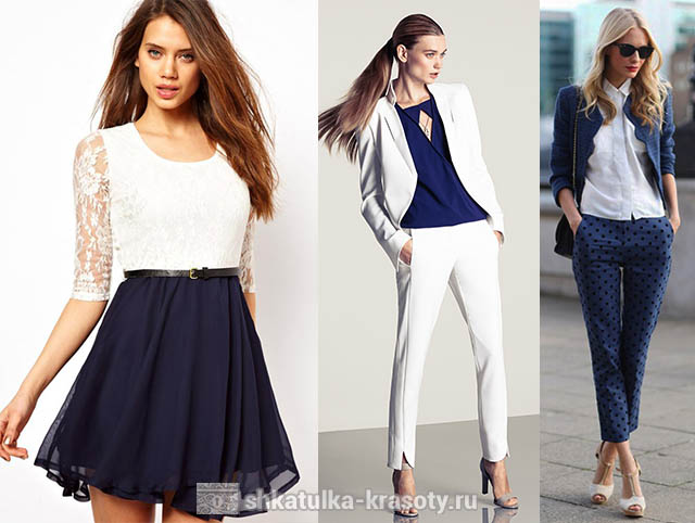 The combination of colors in clothes dark blue
