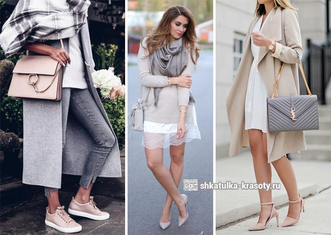 beige at light grey sa damit