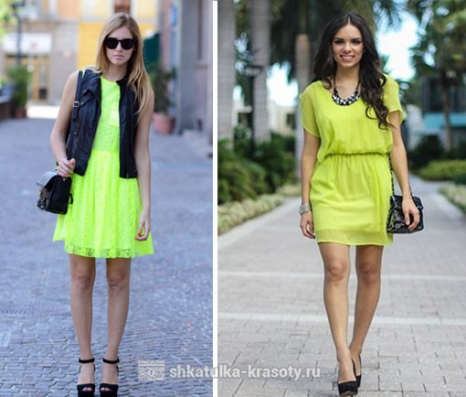 light green and with other colors in clothes