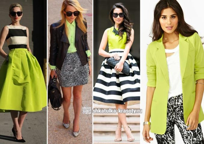 a combination of light green in clothes