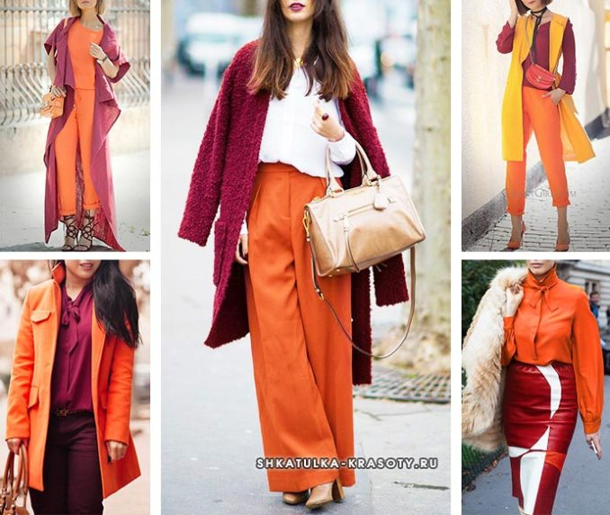 orange color in clothes with claret