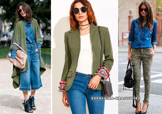khaki with blue in clothes