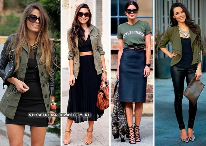 khaki in combination with black in clothes