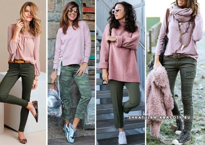 Khaki in combination with pink in clothes