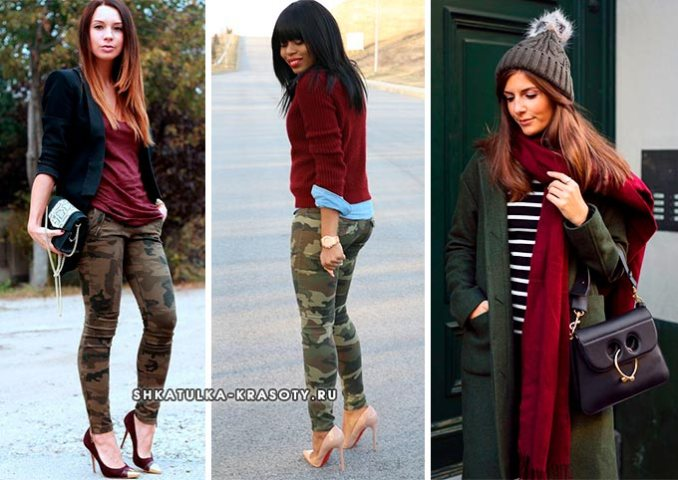 Khaki with burgundy in clothes photo