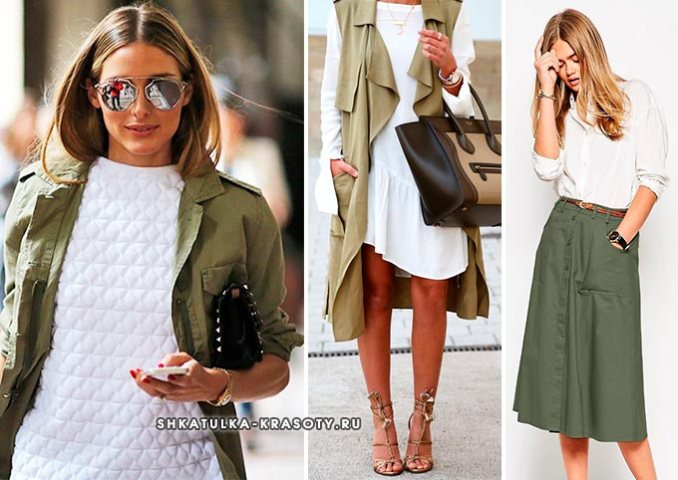 Khaki in combination with white in clothes
