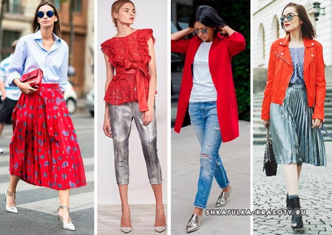 silver metallic color combined with red in clothes