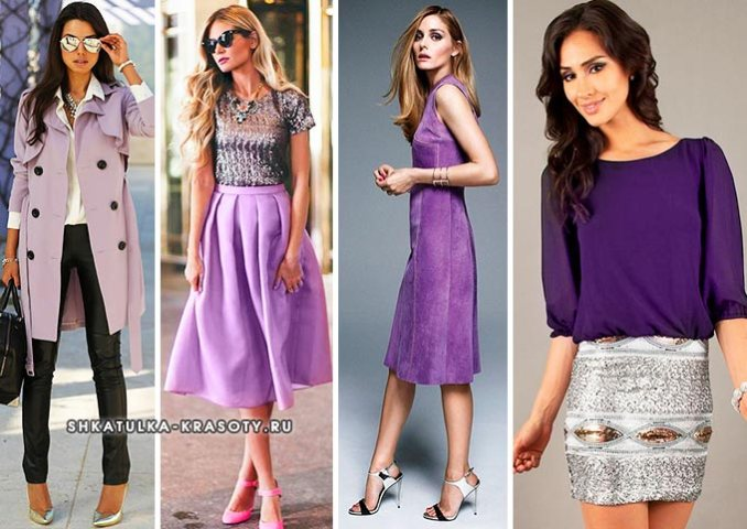 silver color combined with purple in clothes