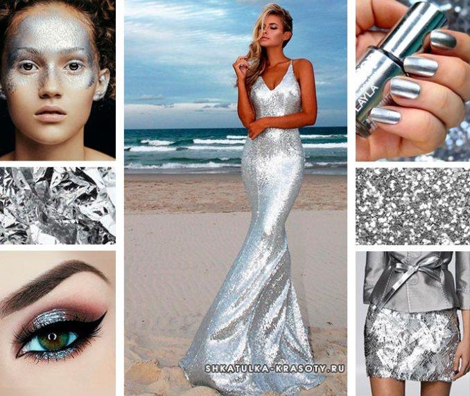 Color silver metallic clothing