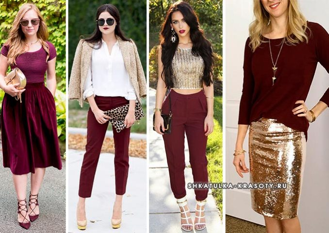 burgundy with gold in clothes