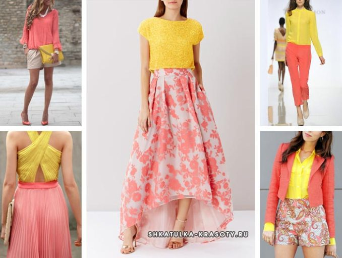 The combination of colors in clothes coral and yellow