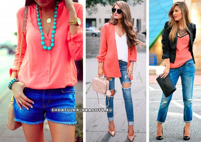 coral color in clothes combined with blue