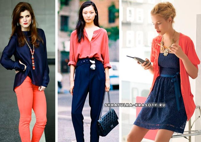 combination of coral and dark blue in clothes