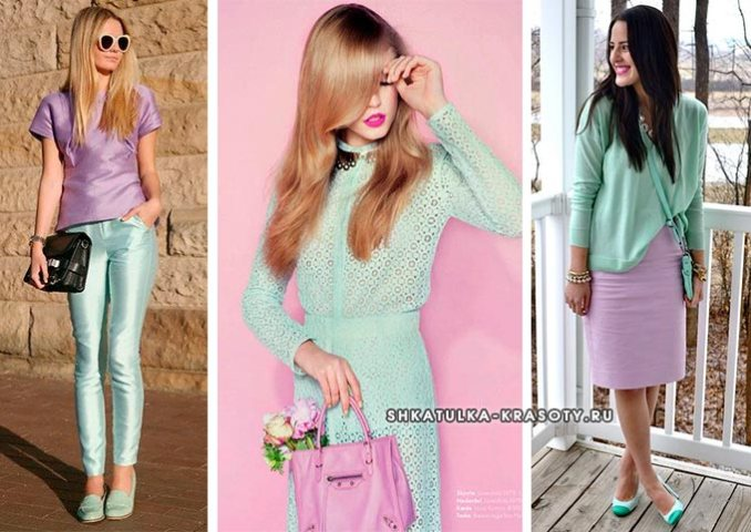 the combination of lilac color in clothes with mint