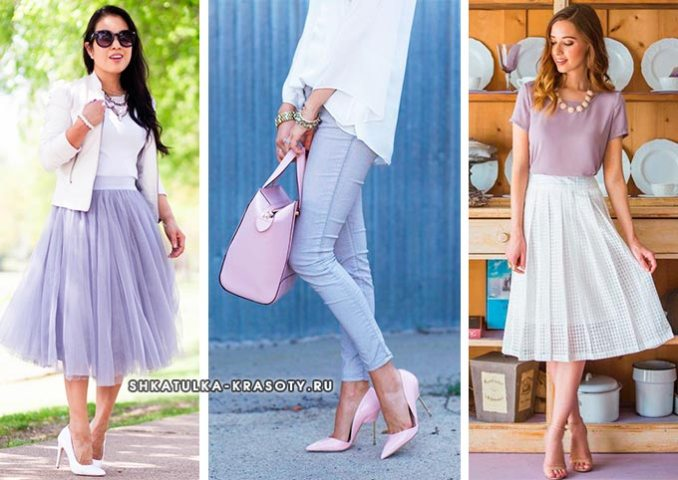 combination of lilac with white in clothes