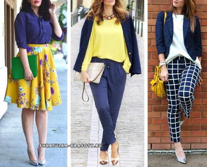 navy in combination with yellow in clothes