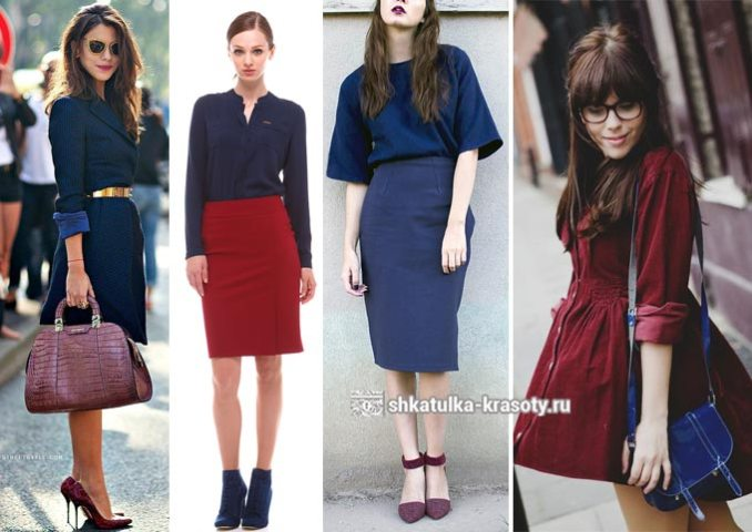 images of combinations of dark blue with burgundy