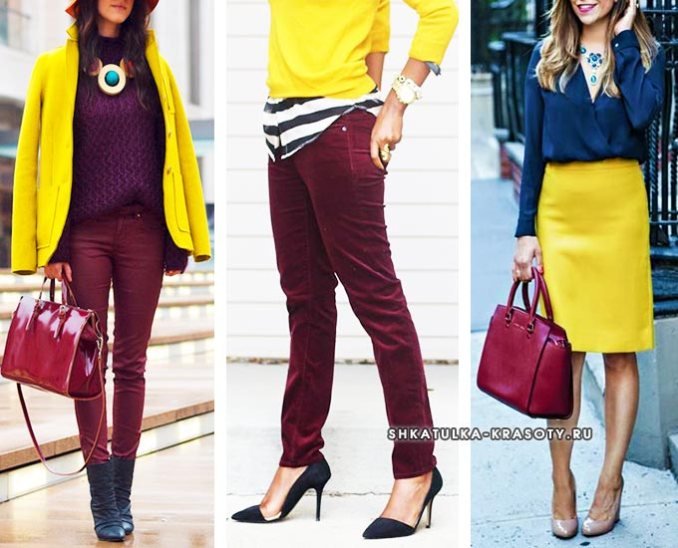 combination of yellow and burgundy