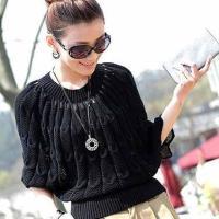 Стильный пуловер-пончо спицами