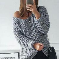 Пуловер крупным узором