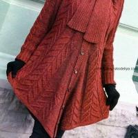Пальто-пончо с шарфом