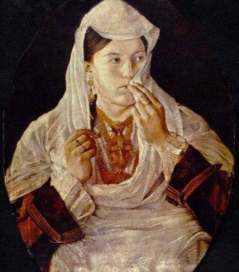 Motra Tone, portret - marrë në një kartolinë nga KT