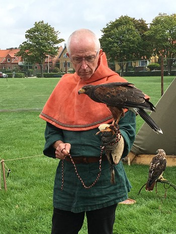 At the Viking ship museum at Roskilde there was a display of Viking life. This gent was wrangling a menagerie of hunting raptors.
