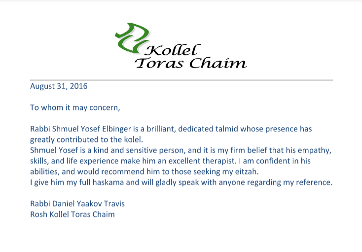 Recommendation from Rabbi Daniel Travis SHLITA, Rosh Kolel