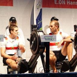 Das Team des Deutschland-Achters nach dem Stadtwerke-Ergo-Cup