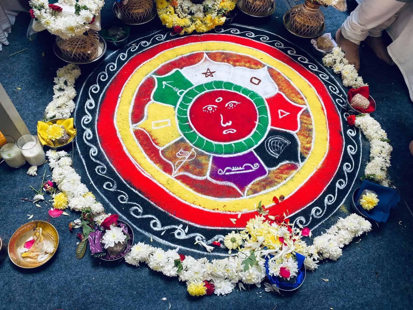 Kolam or rangoli design to propitiate the nine planets or nava graham.