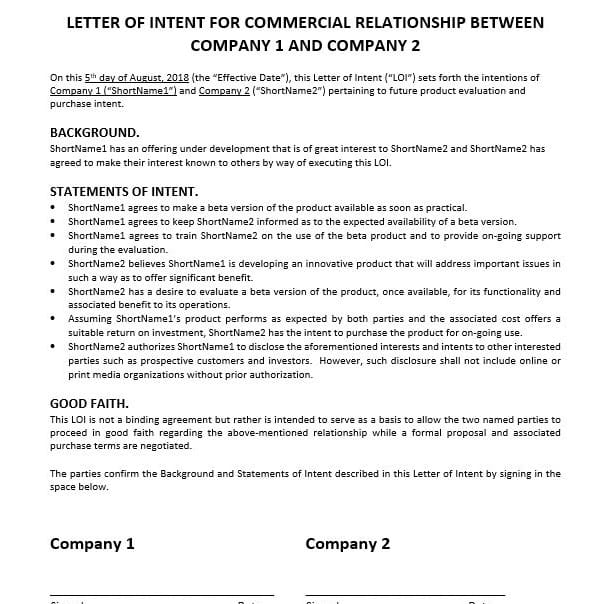 Letter of Intent (Beta / Pilot Test)