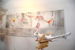 Cynthia Minet. Migrations. Work in process. Studio view.
