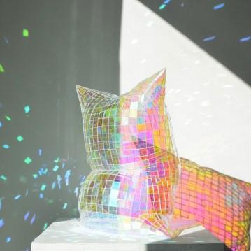"""Colin Roberts Holograph Pillow Plexiglass 21 x 20 x 14"""" 2019 http://www.colinrobertsart.com/"""