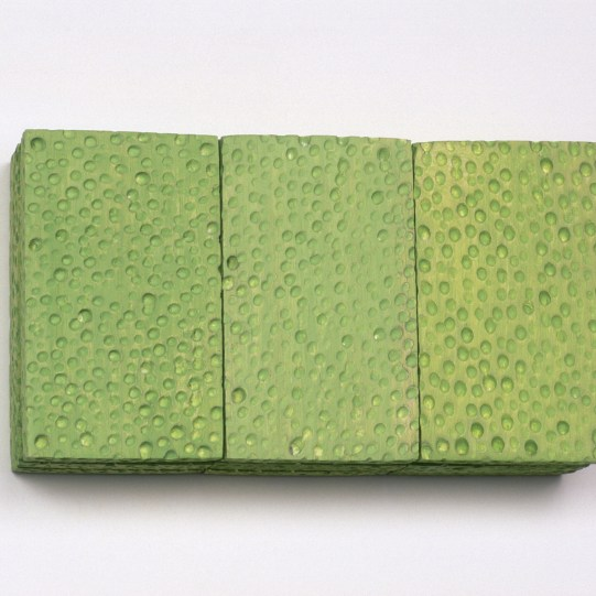George Stoll Untitled (sponge painting: mint 9 pack) 1998 burned balsa wood, gesso and alkyd 5 x 8 3/4 x 2 1/4 inches https://www.georgestoll.net/