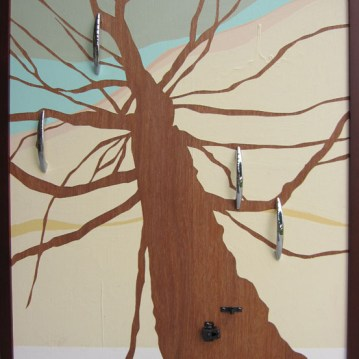 "Hilary Norcliffe Natural Habitat – Kitchen (2011) Acrylic, door handles and latch 28""x22"" http://hilarynorcliffe.com/"
