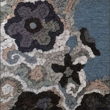 "Emily Wiseman If Wishes were Horses (detail) Deconstructed men's suits, rug backing, carpet remnant 60x72"" 2016 https://www.emilywiseman.com/"