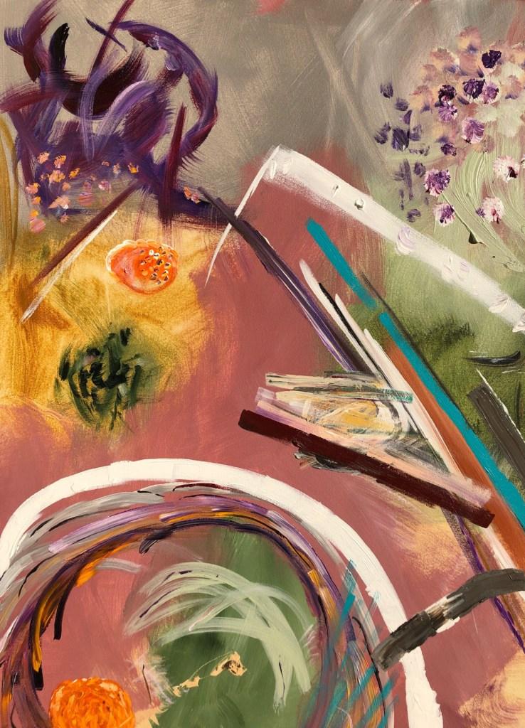 "NIGHTSCAPE, 2019 Acrylic, medium on canvas 16"" x 20"""