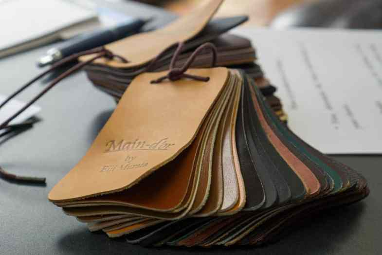 Leather swatches.