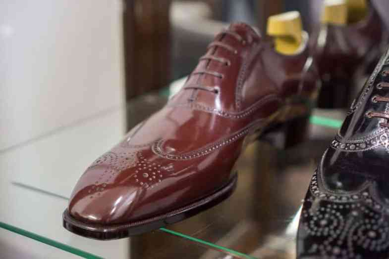 A full brogue on a last with a slightly chiseled toe.