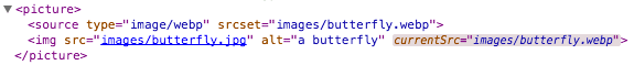 DevTools with an image's current source shown as a computed attribute