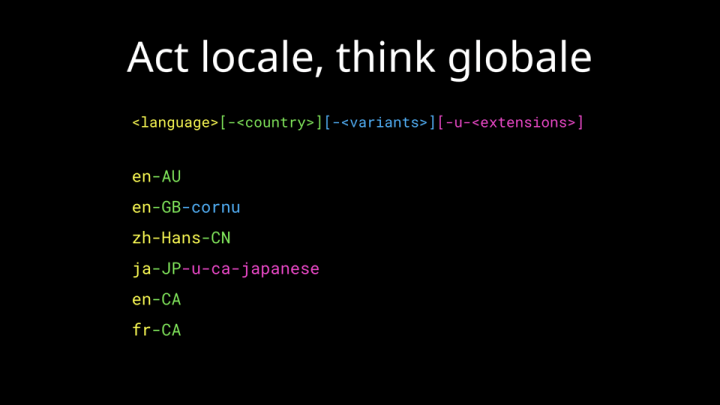 Act locale, think globale. Some examples of how locale strings are constructed.